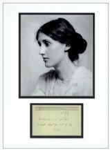 Virginia Woolf Autograph Signed Note Display